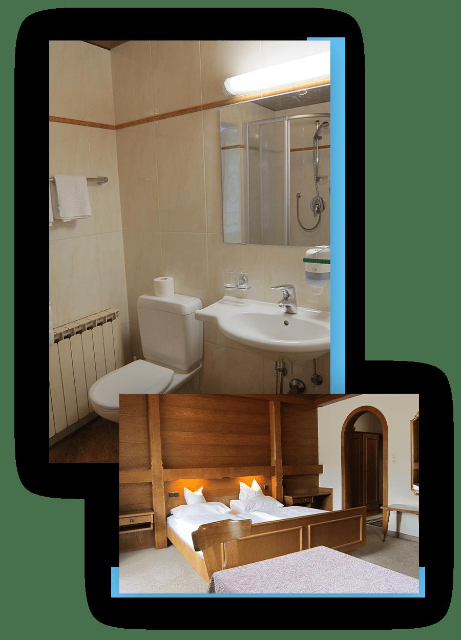 MANNI Gästehaus Elisabeth Badezimmer und Doppelzimmer mit Weitblick