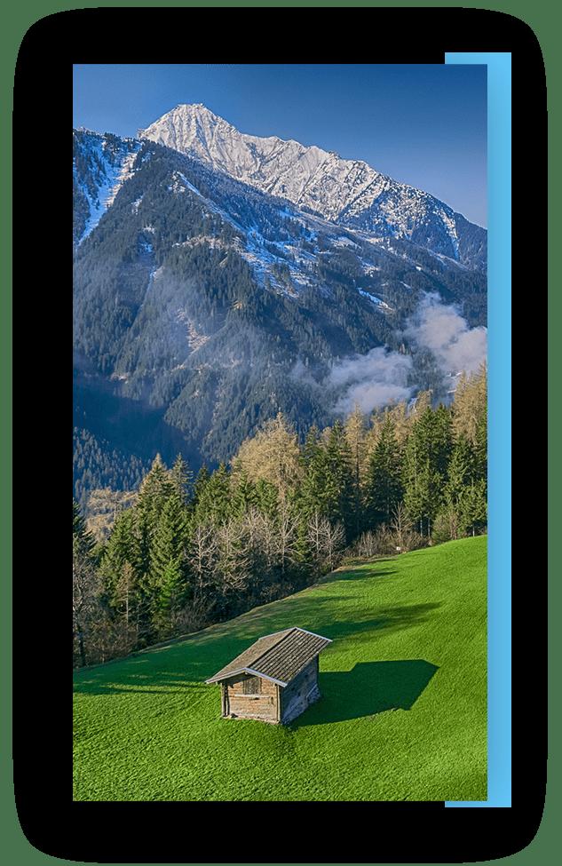 MANNI Ausblick in die Berge