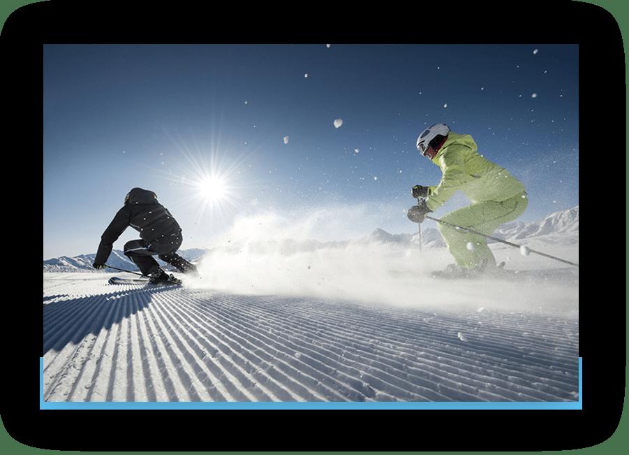 MANNI Skifahren im Sonnenschein