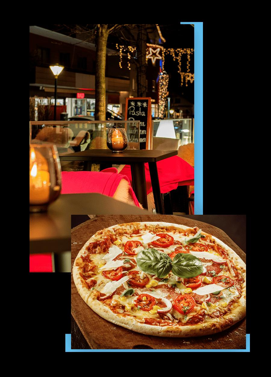MANNI Dining Abend Terrasse und knusprig frische Pizza